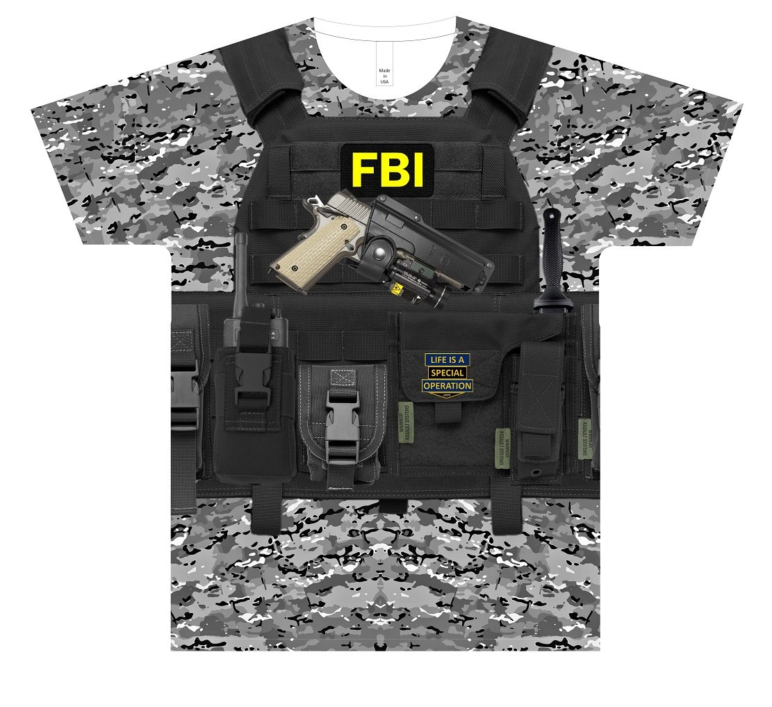 FBI Body Armor T Shirt by Life is a Special Operation Front HD Mockup