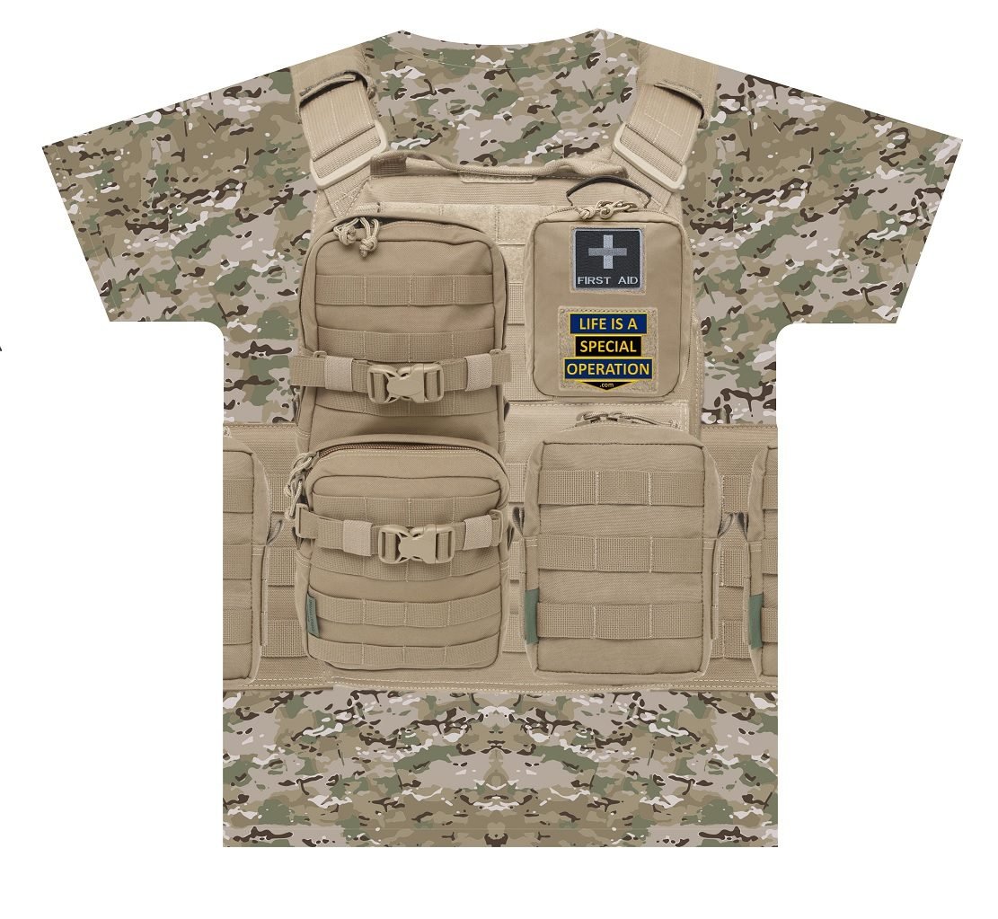 Multicam Body Armor T Shirt by Life is a Special Operation Back HD Mockup
