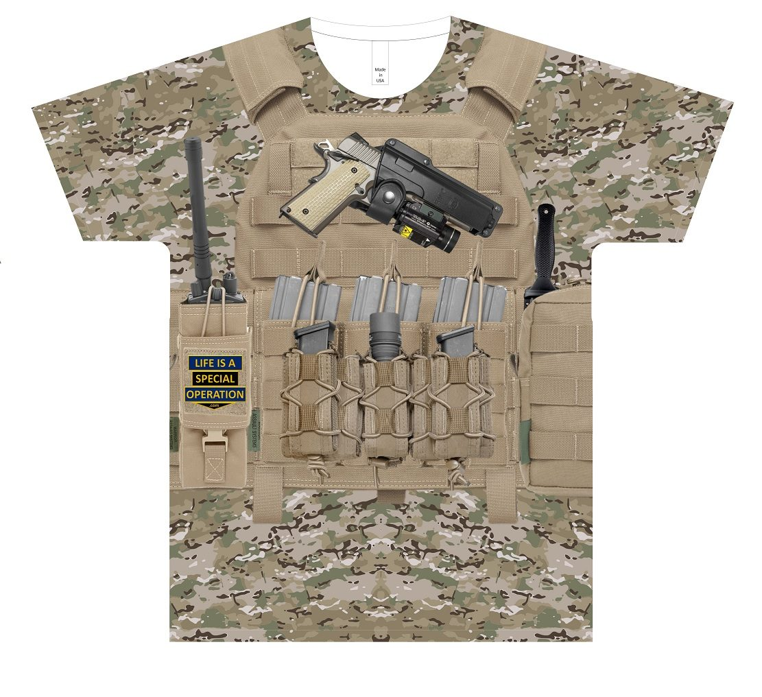 Multicam Body Armor T Shirt by Life is a Special Operation Front HD Mockup