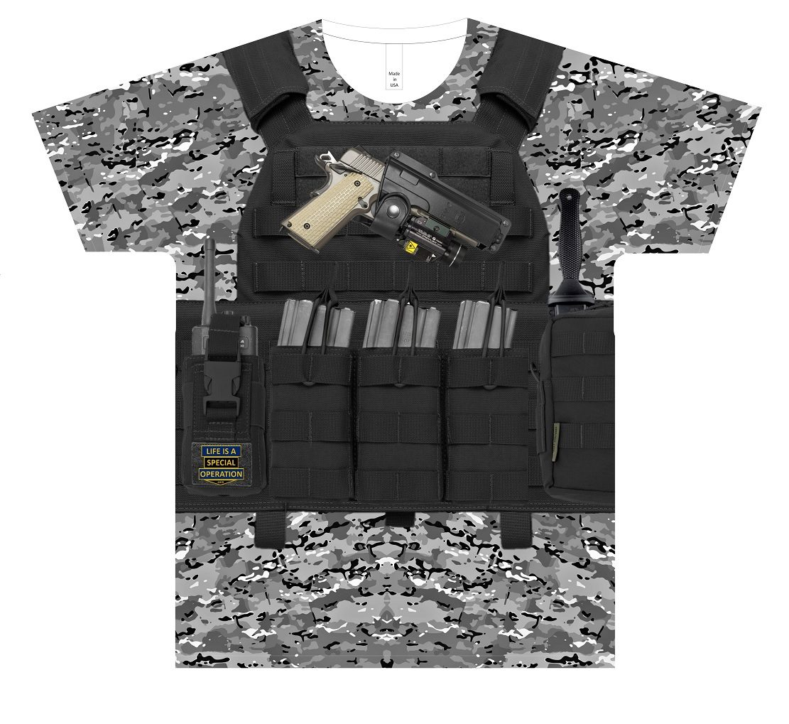 Night Warrior Body Armor T Shirt by Life is a Special Operation Front HD Mockup