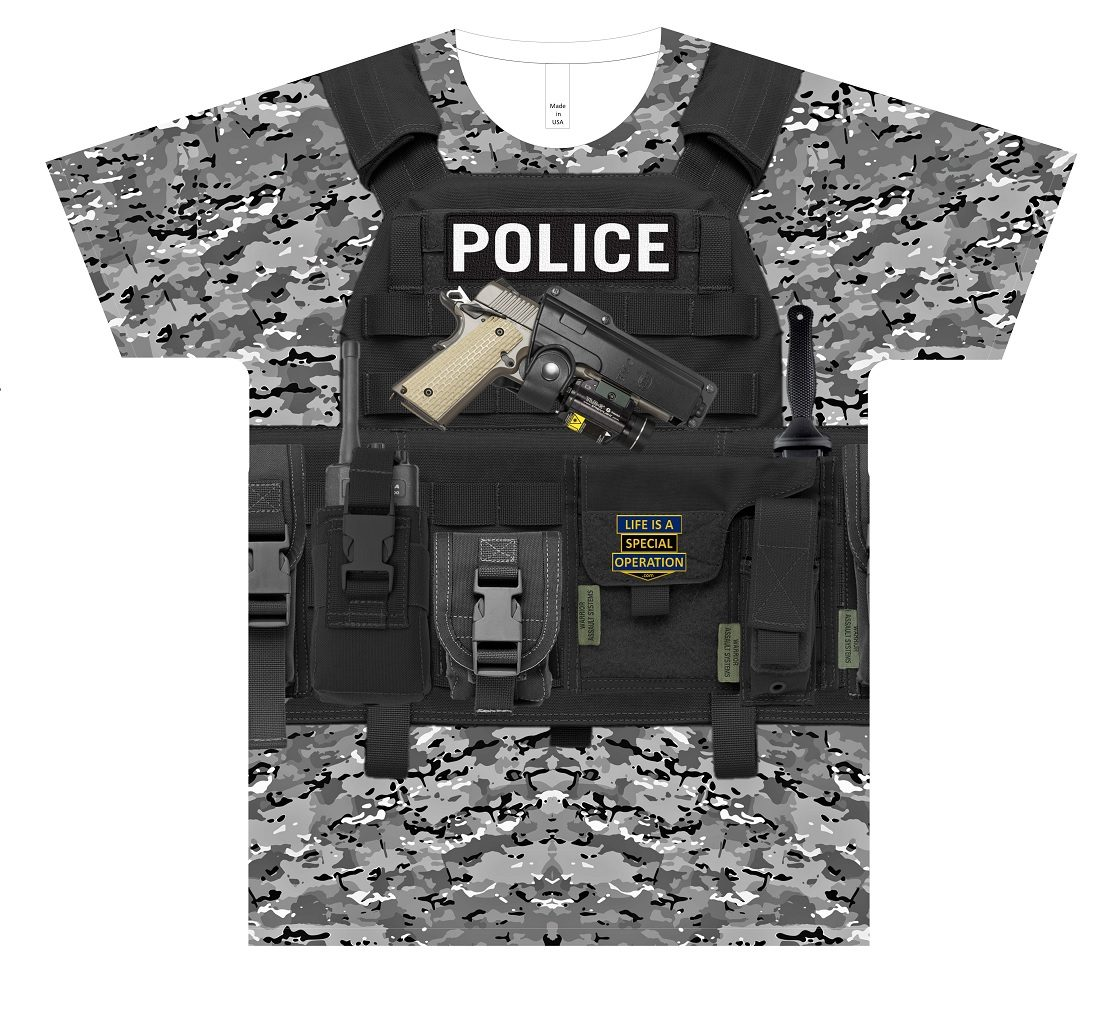 Police Body Armor T Shirt by Life is a Special Operation Front HD Mockup